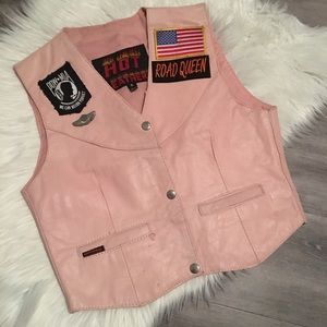 Hot Leathers Pink Harley Davidson motorcycle Vest